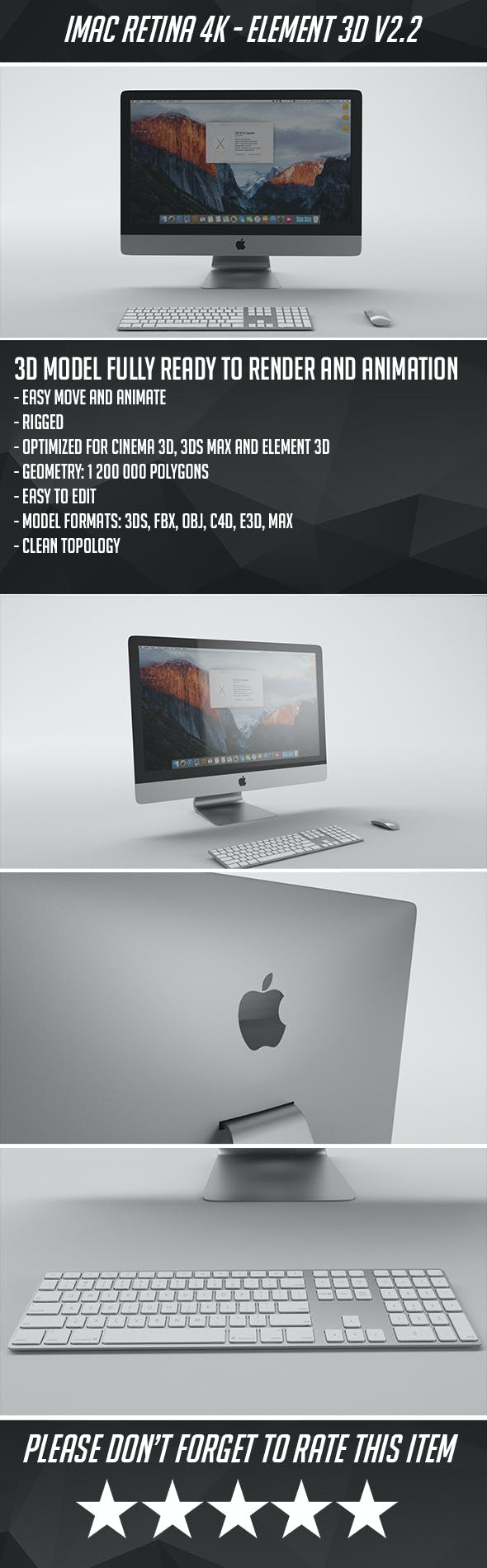 Apple iMac 4K - Element 3D - 3DOcean Item for Sale