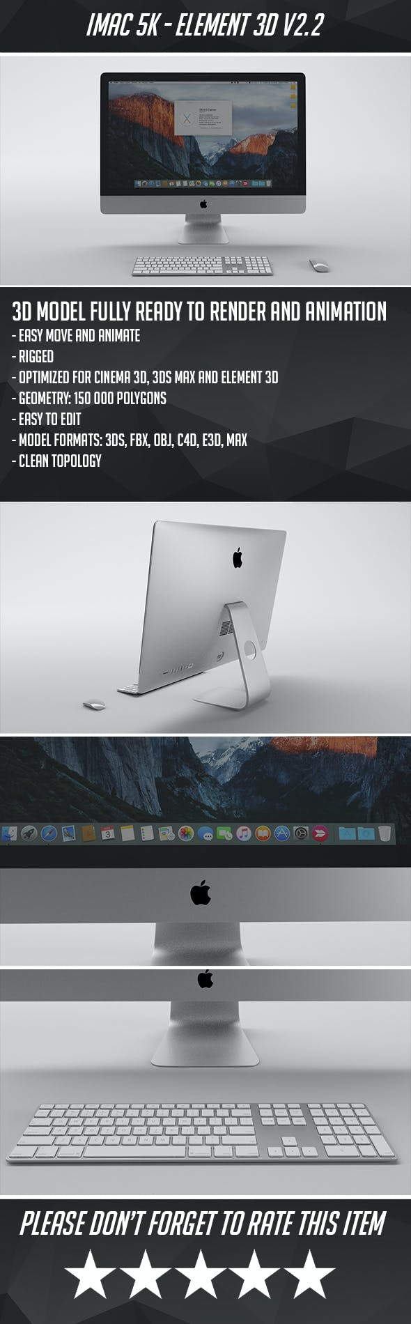 Apple iMac 5K - Element 3D - 3DOcean Item for Sale