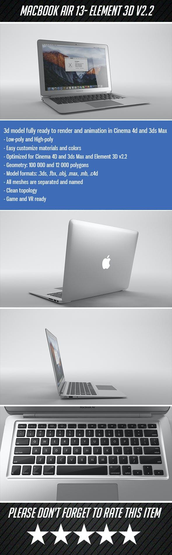 Apple Macbook Air 13 - Element 3D - 3DOcean Item for Sale