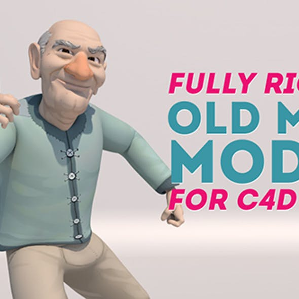 Stylized Old Man Character - Fully Rigged