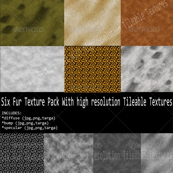Six different  Fur Texture Pack  - 3DOcean Item for Sale