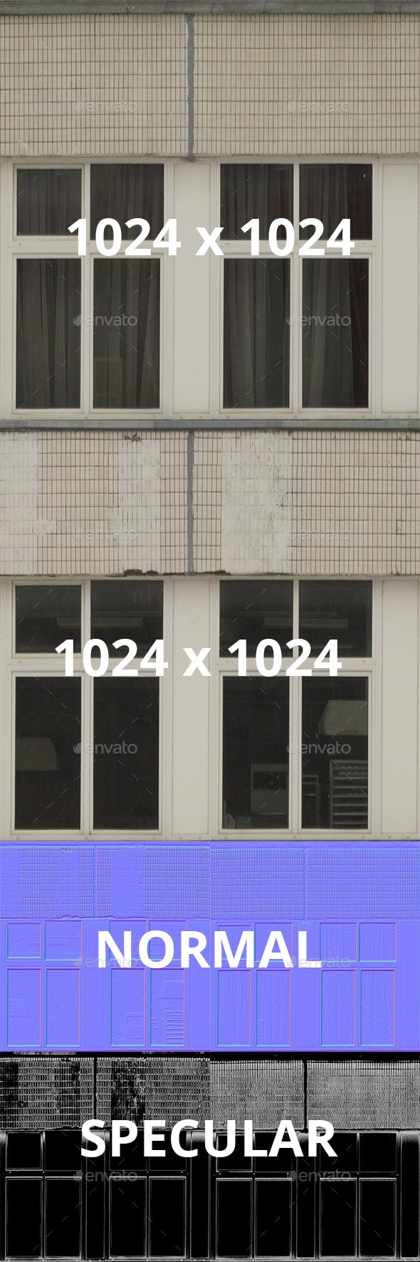 Set of 2 Wide Industrial Windows and Tiles Walls - 3DOcean Item for Sale