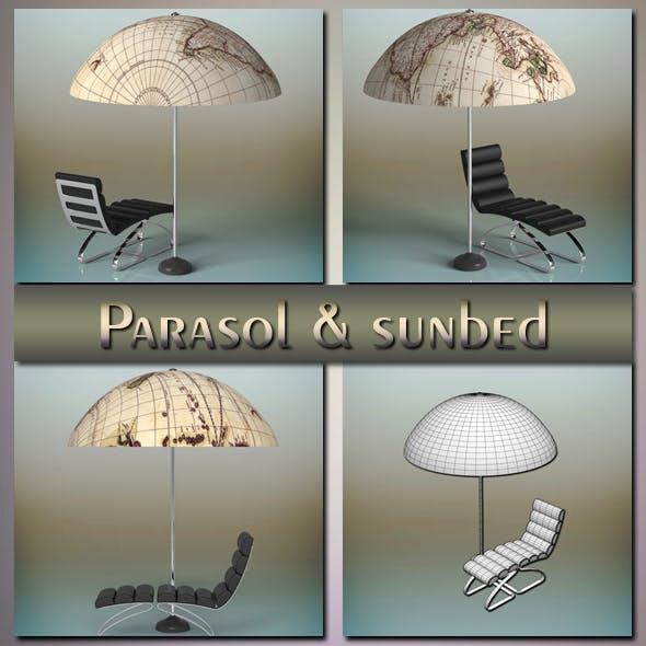 Parasol & sunbed - 3DOcean Item for Sale