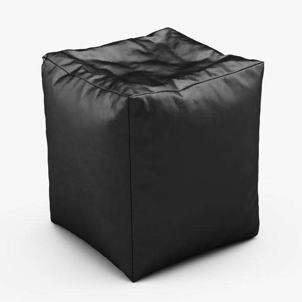 Cube Bean Bag Faux Leather Black