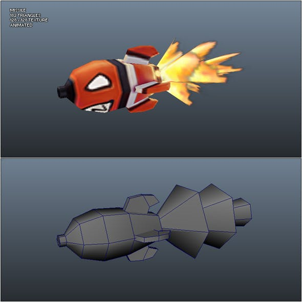 Low Poly Missile - 3DOcean Item for Sale