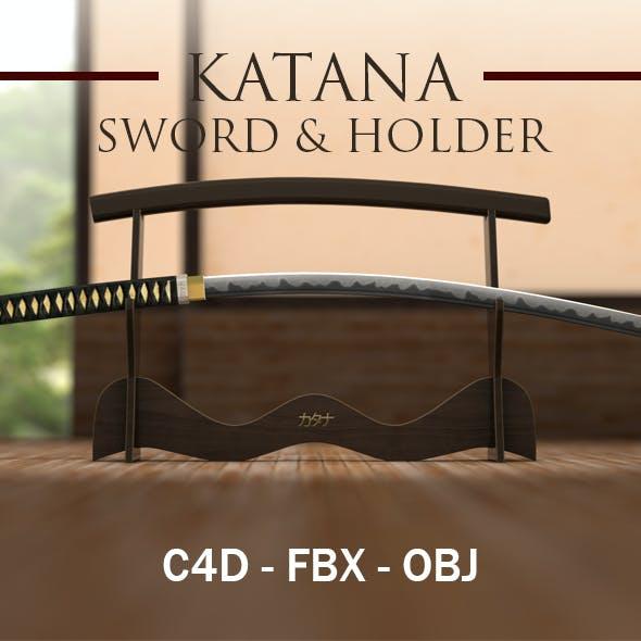 Japanese Katana Sword with Platform