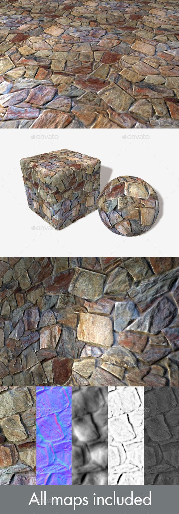 Big Colourful Rock Wall Seamless Texture - 3DOcean Item for Sale