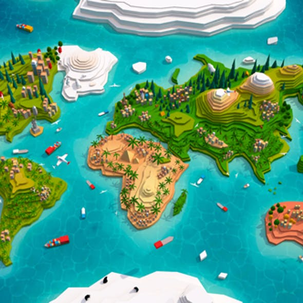 Cartoon Low Poly Earth World Map 2.0