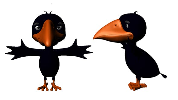 Crow Cartoon Low Poly - 3DOcean Item for Sale