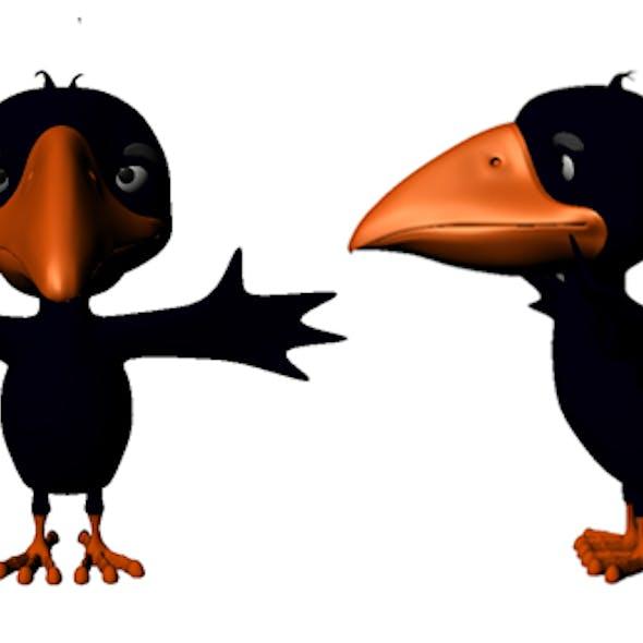Crow Cartoon Low Poly