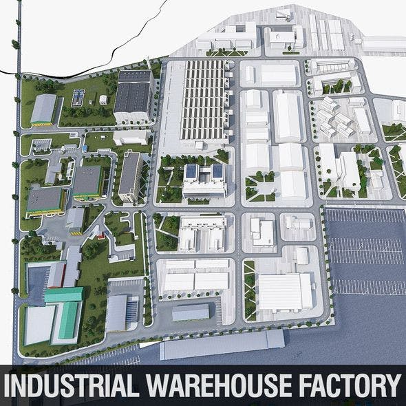 Industrial Factory - 3DOcean Item for Sale