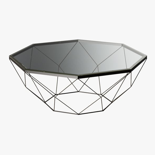 Geometric Antique Brass Coffee Table with Glass Top - 3DOcean Item for Sale