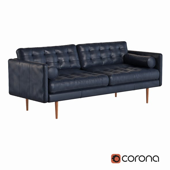 Monroe Mid Century Leather Sofa - 3DOcean Item for Sale