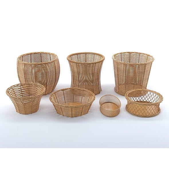 Wicker baskets collection - 3DOcean Item for Sale