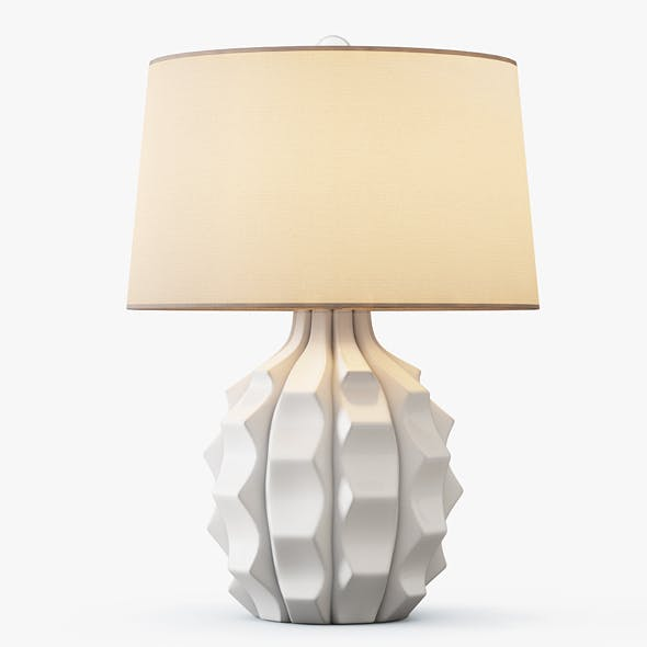 Scalloped Ceramic Table Lamp white - 3DOcean Item for Sale