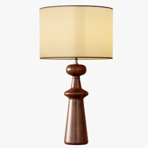 Turned Wood Table Lamp Tall - 3DOcean Item for Sale