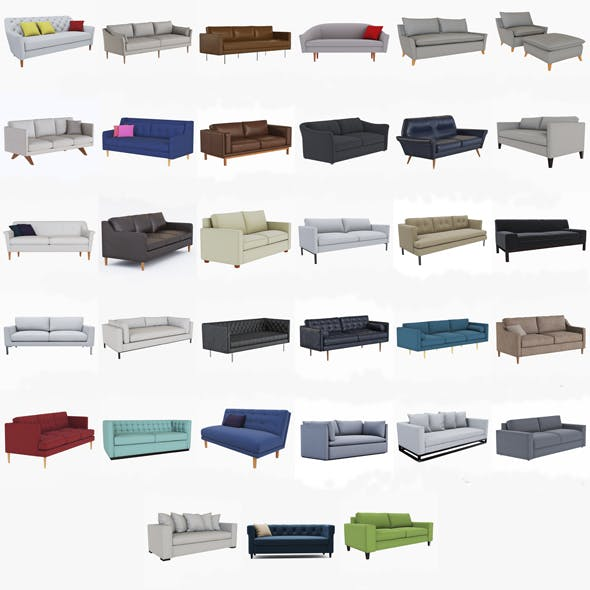 West Elm Sofa collection - 3DOcean Item for Sale