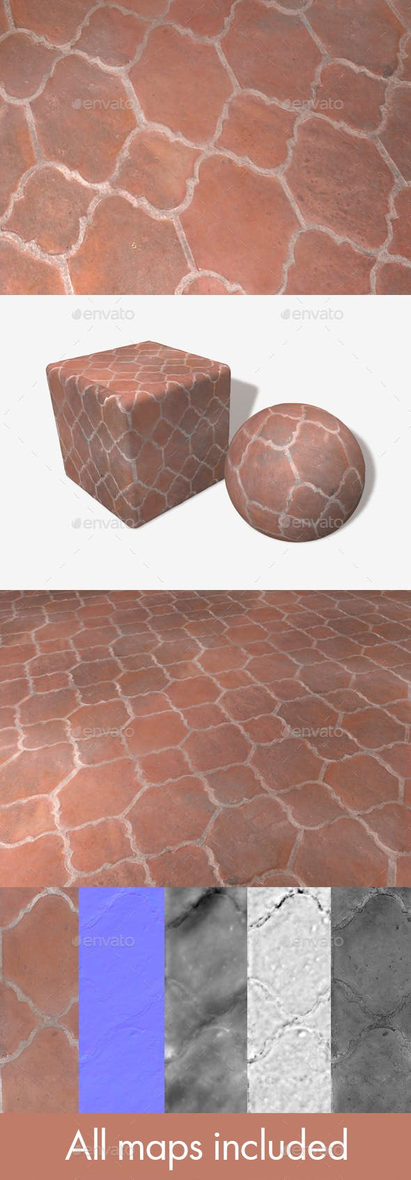 Fancy Terracotta Floor Tiles Seamless Texture - 3DOcean Item for Sale