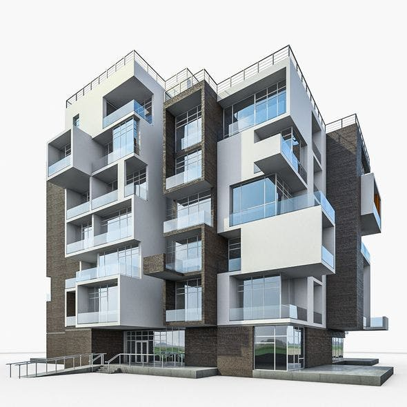 Modern Apartment Building 01 - 3DOcean Item for Sale