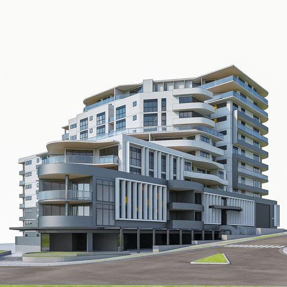 Modern Apartment Building 02 - 3DOcean Item for Sale