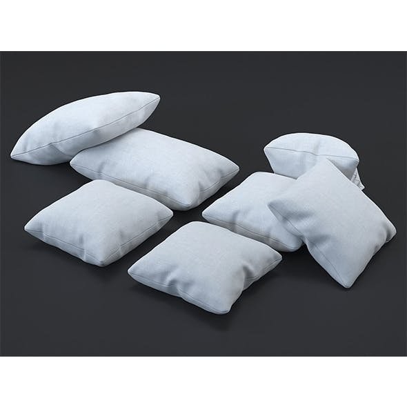 White fabric cushion (set of 7) - 3DOcean Item for Sale