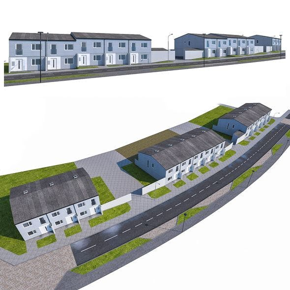 Neighborhood Houses 03 - 3DOcean Item for Sale