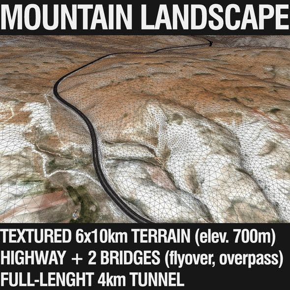Mountain Terrain with Highway and Tunnel - 3DOcean Item for Sale