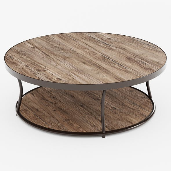 Iron Coffee Table Bentley Round Elm - 3DOcean Item for Sale
