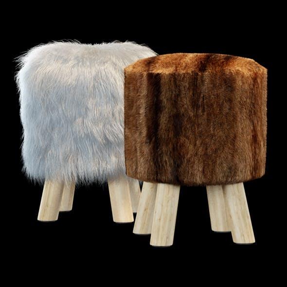 Faux Fur Stool - 3DOcean Item for Sale