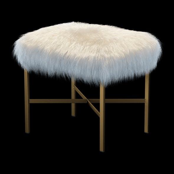 Faux Mongolian Lamb Fur Stool - 3DOcean Item for Sale