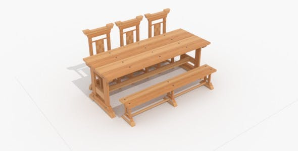 Medieval Dinning table - 3DOcean Item for Sale