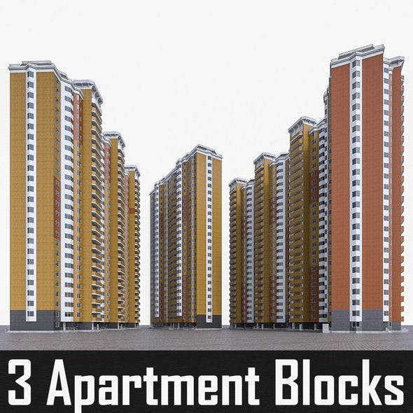 Hgh-rise Residential Apartment Buildings - 3DOcean Item for Sale