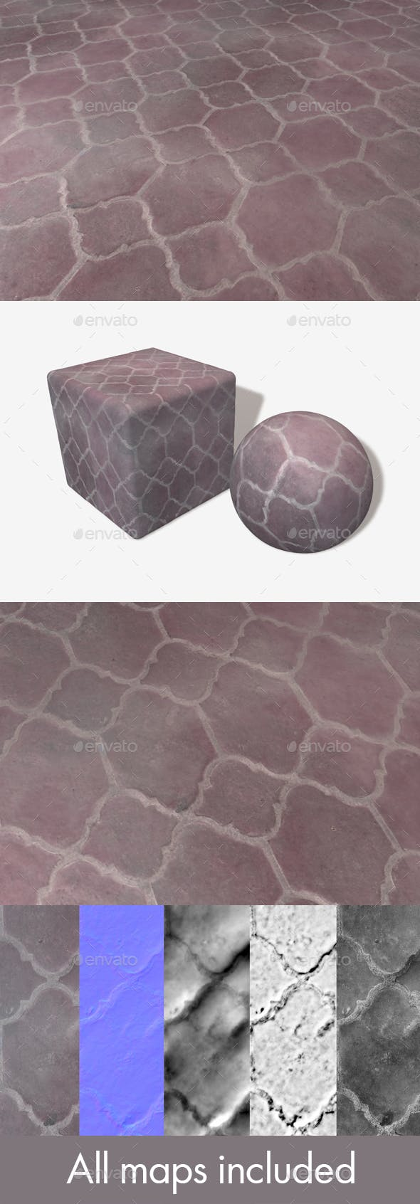 Purple Floor Tiles Seamless Texture - 3DOcean Item for Sale