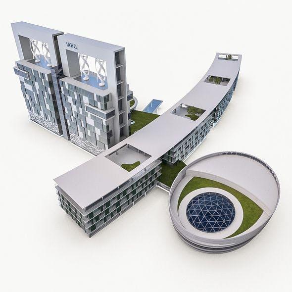 Hotel Resort Building - 3DOcean Item for Sale