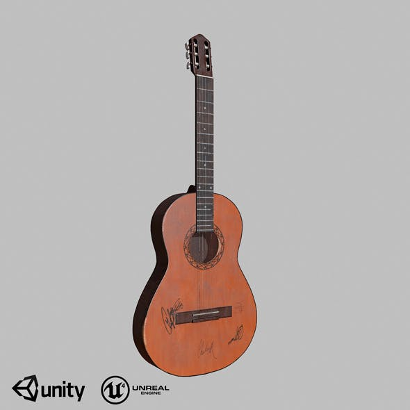 Guitar low-poly - 3DOcean Item for Sale
