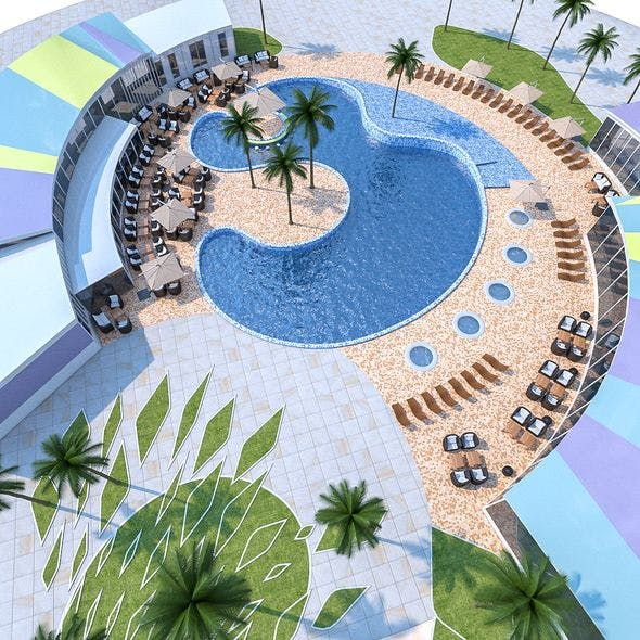 Outdoor Spa Pool - 3DOcean Item for Sale