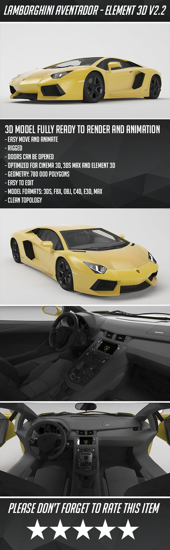 Lamborghini Aventador - Element 3D - 3DOcean Item for Sale