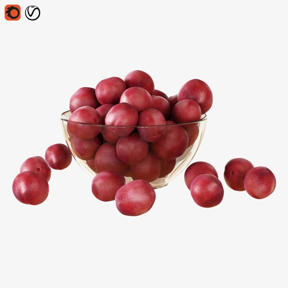 Red Plums in a Vase - 3DOcean Item for Sale