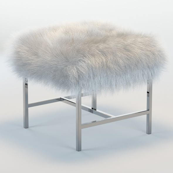 Tavi Mongolian Faux Fur Stool - 3DOcean Item for Sale