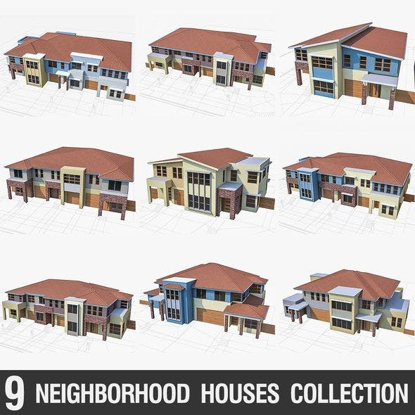 Neighborhood Townhouses Collection - 9 Pack - 3DOcean Item for Sale