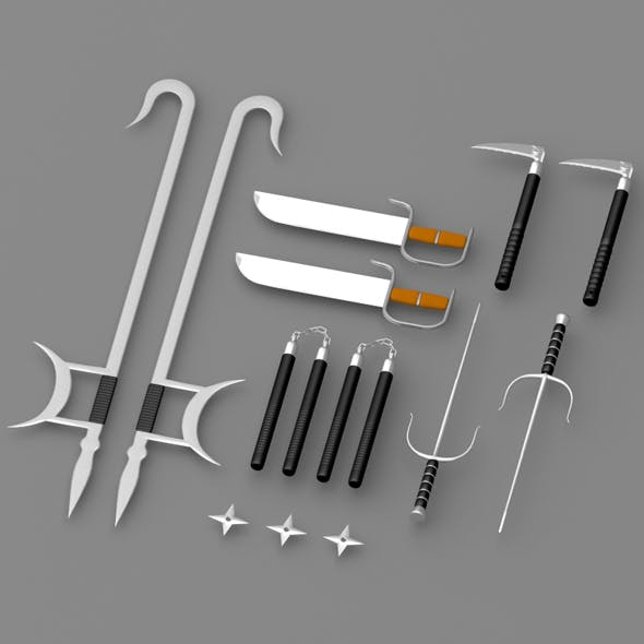 Eastern martial arts weapons - 3DOcean Item for Sale