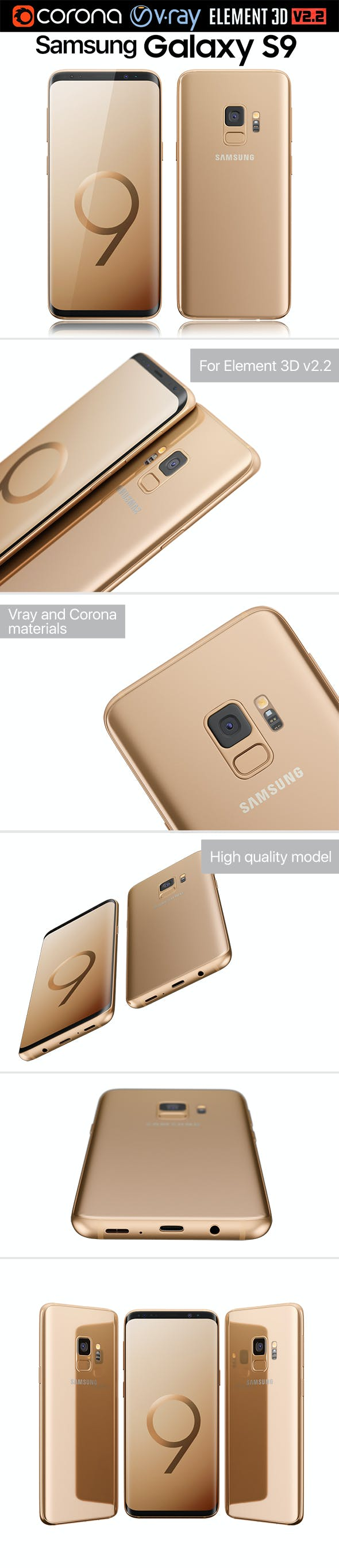 Samsung Galaxy S9 Sunrise Gold - 3DOcean Item for Sale