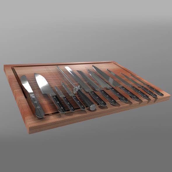 Kitchen Knife Set - 3DOcean Item for Sale