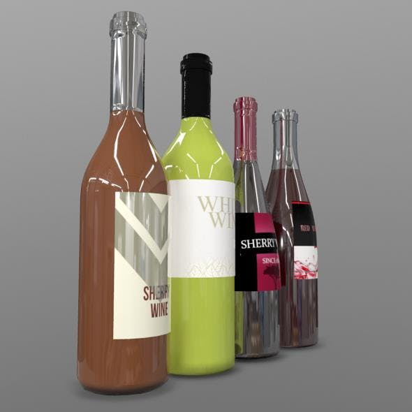 Wine Bottles - 3DOcean Item for Sale