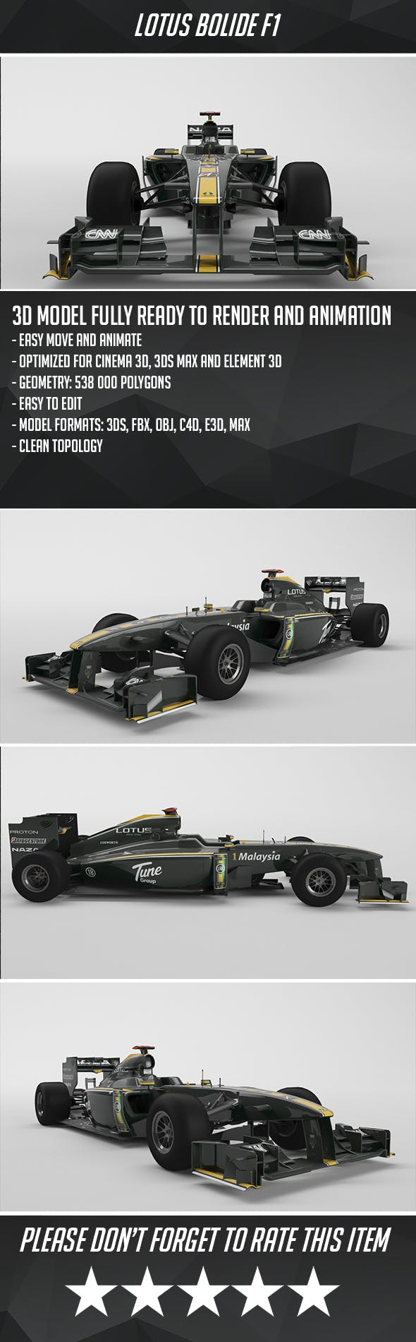 Lotus F1 Bolide - 3DOcean Item for Sale