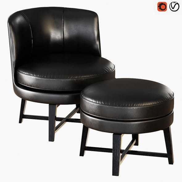Armchair and Pouf Flexform Feel Good