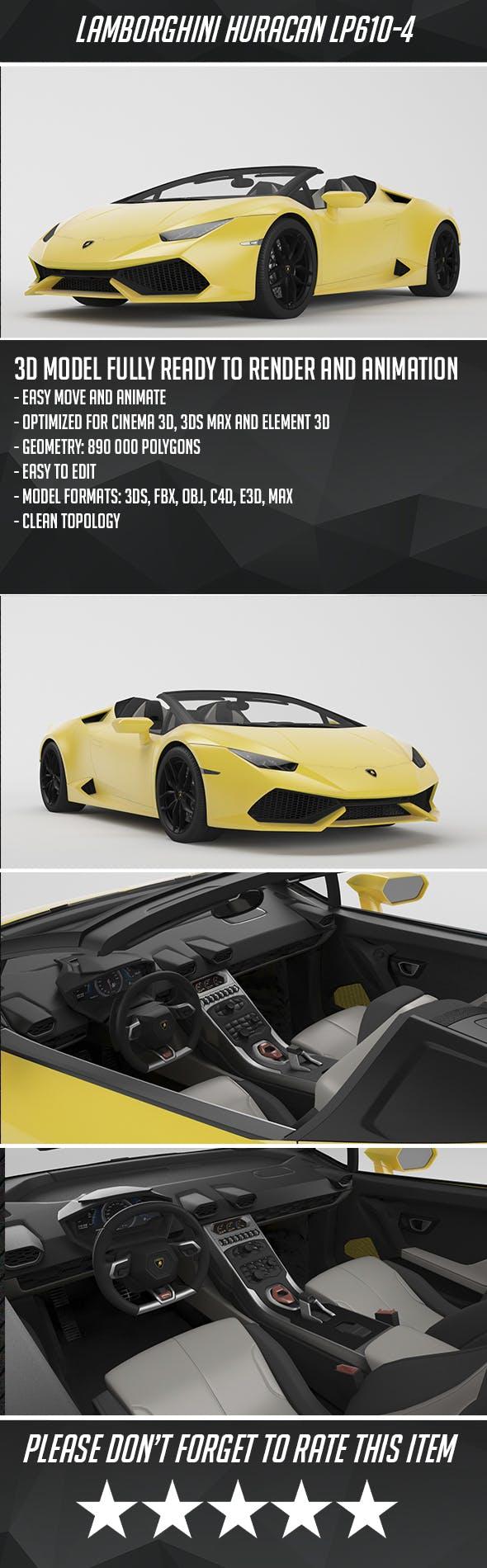 Lamborghini Huracan LP610 Spyder - 3DOcean Item for Sale