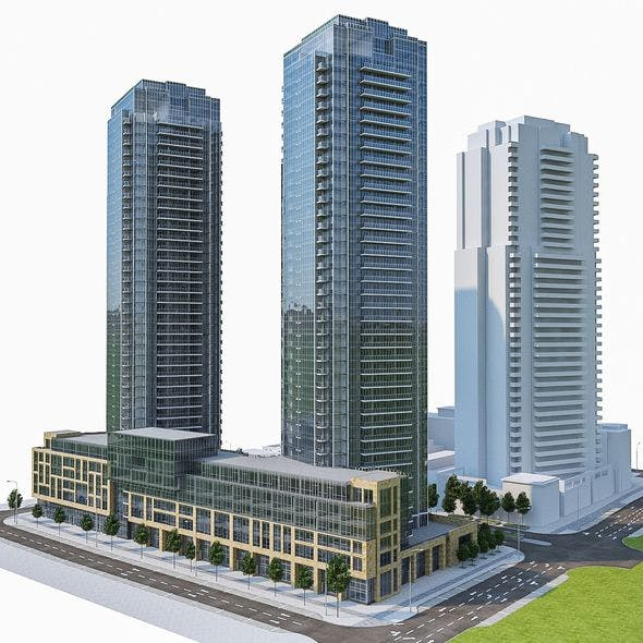 Residential Tower Complex 01 - 3DOcean Item for Sale