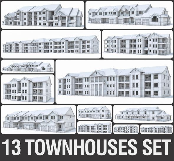 Townhouses Collection - 3DOcean Item for Sale