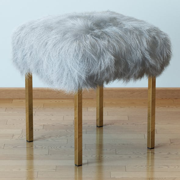 Sheepskin stool - 3DOcean Item for Sale